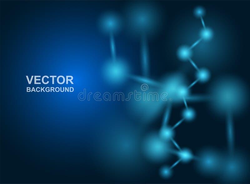 Abstrakt Moleku?a projekt atomy Medyczny lub nauka t?o Cz?steczkowa struktura z b??kitnymi ba?czastymi cz?steczkami wektor ilustracja wektor