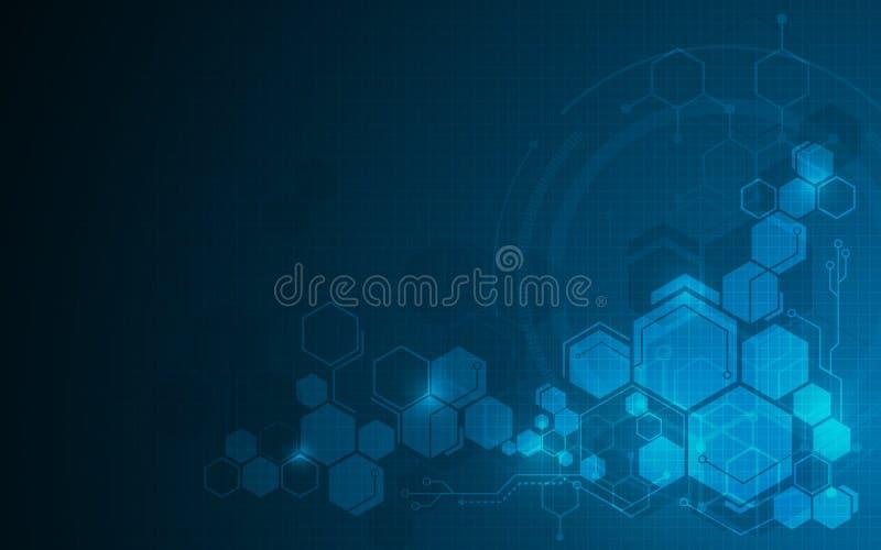 Abstrakt molekylär bakgrund för begrepp för design för fi för sci för sexhörningsmodelltech royaltyfri illustrationer