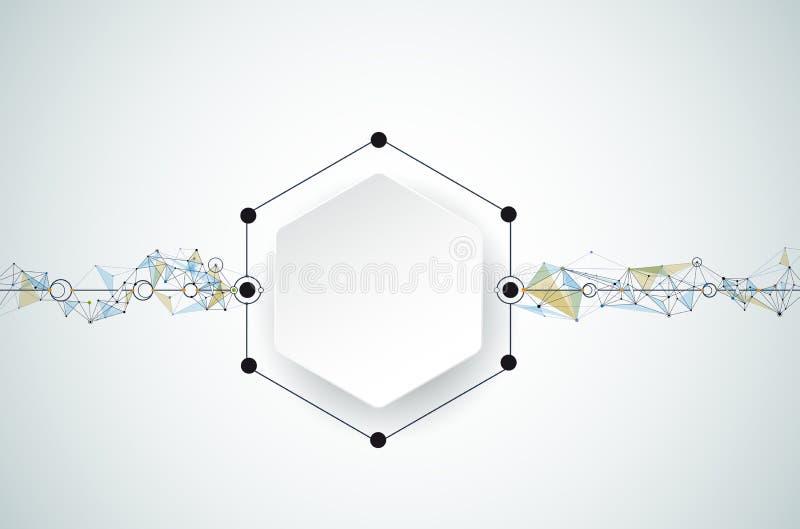 Abstrakt molekylar för vektor med papper 3D och Polygonal på ljus - grå färgbakgrund royaltyfri illustrationer