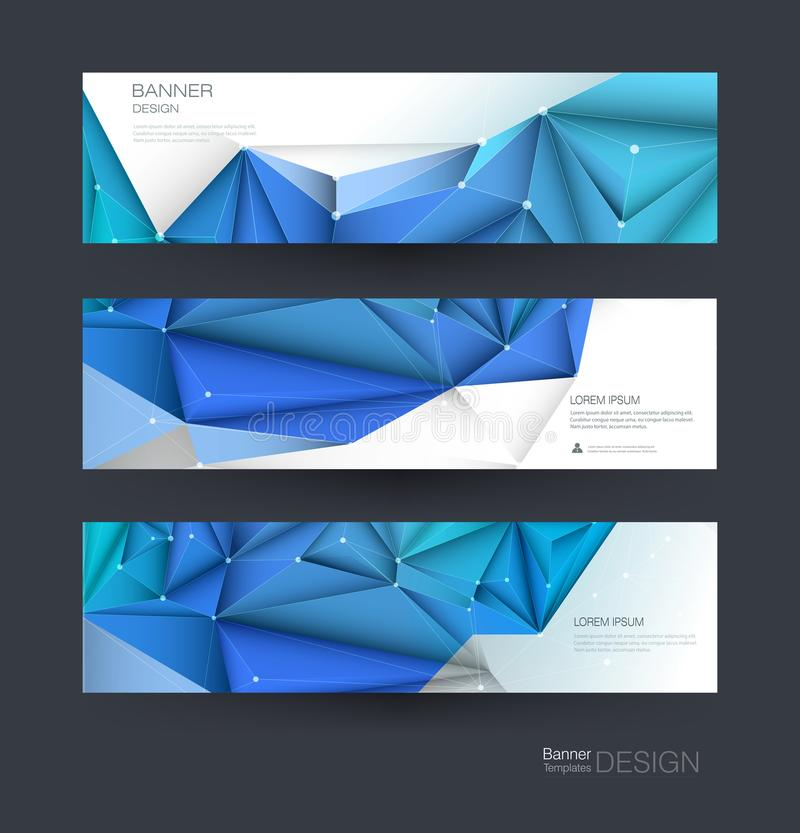 Abstrakt molekylbaneruppsättning Modern vetenskap, kemiteknologibegrepp för website, affär, rengöringsdukbaner, mall eller brochu vektor illustrationer