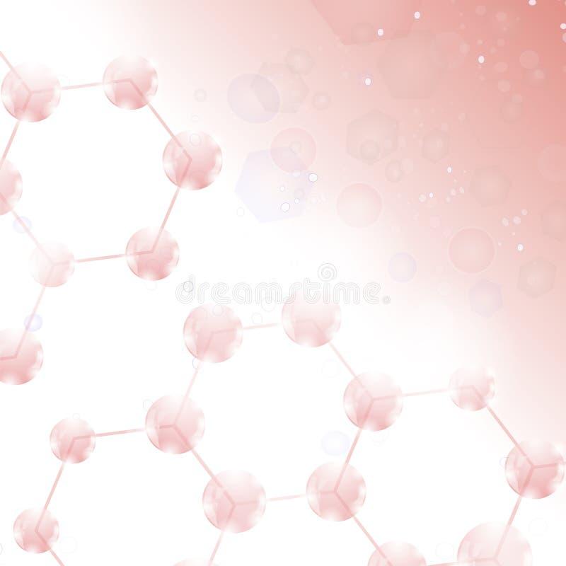 Abstrakt molekyldesign Strukturmolekyl och kommunikation Vetenskaplig bakgrund med atomen chemical struktur stock illustrationer