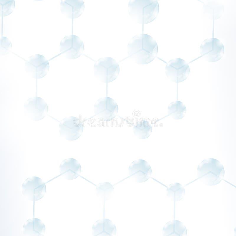 Abstrakt molekyldesign Strukturmolekyl Vetenskaplig bakgrund med atomen Sexhörnig genetisk och kemisk struktur royaltyfri illustrationer