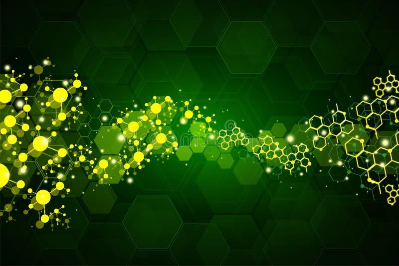 Abstrakt molekylläkarundersökningbakgrund royaltyfri fotografi