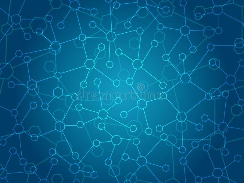 Abstrakt molekylläkarundersökningbakgrund royaltyfri illustrationer