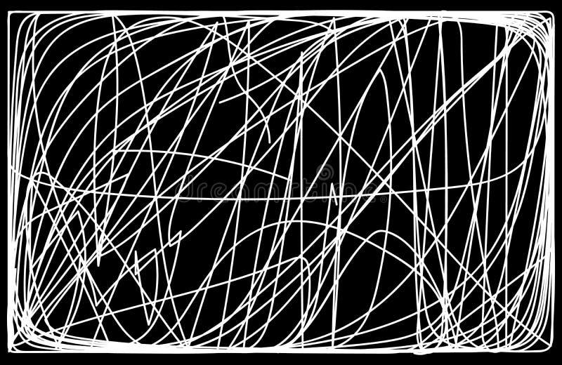 Abstrakt monokrom bakgrund som är frihands klottrar vektorillustrationen vektor illustrationer