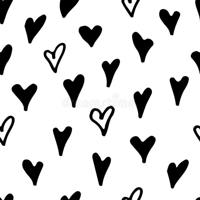 Abstrakt monokrom hand dragen svartvit sömlös modell för färgpulver Borsteklottervektorn upprepade illustrationen för papper vektor illustrationer