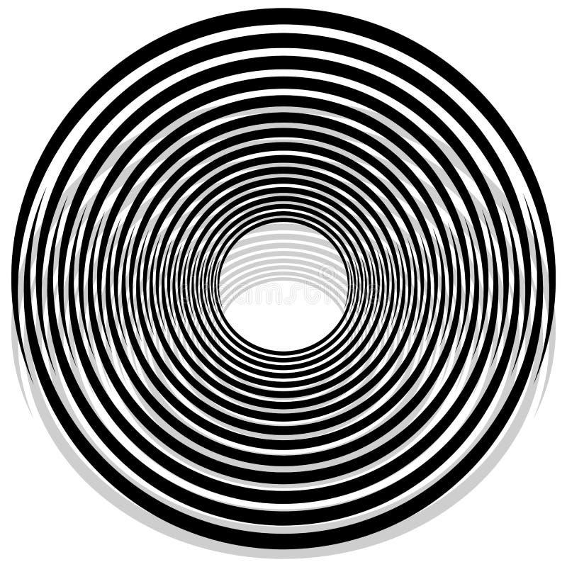 Abstrakt monokromspiral, virvel med radiellt som utstrålar cirkeln vektor illustrationer