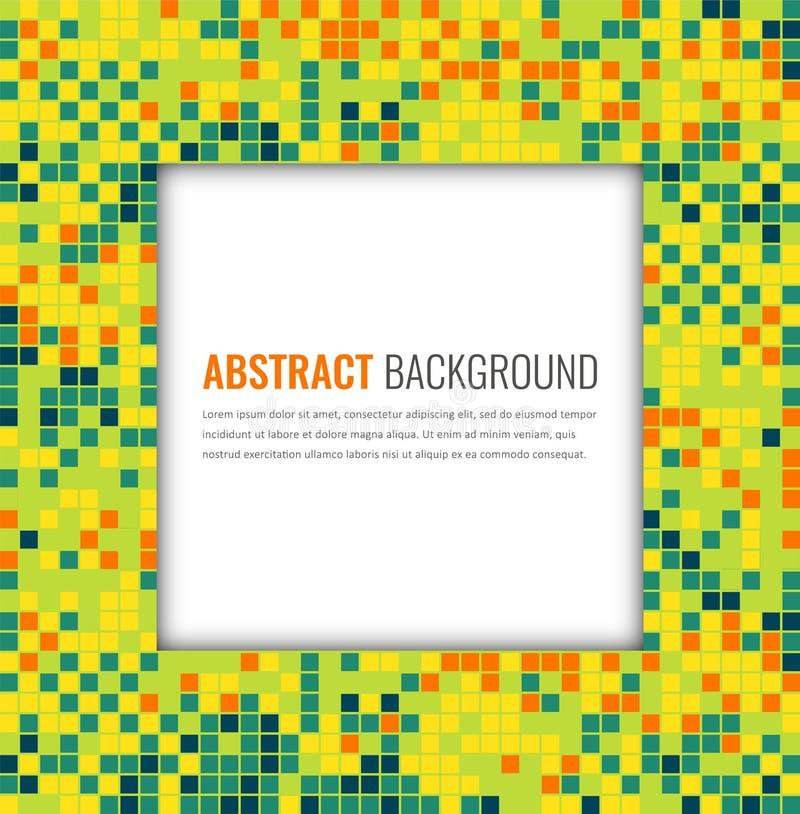 Abstrakt mosaikbakgrund med färgrika PIXEL Mall för partiinbjudandesign vektor vektor illustrationer