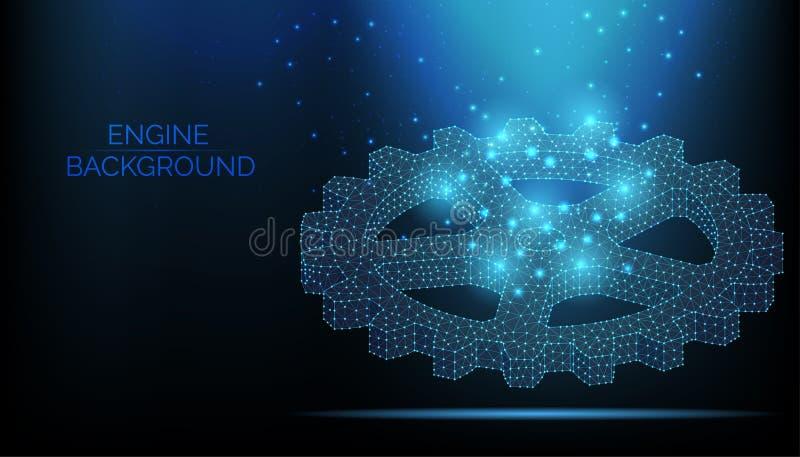 Abstrakt motorvektorwireframe Kugghjul på mörkt - blå bakgrund Teamworksymbol Motorarbete, affärslösningsbegrepp Partikel vektor illustrationer