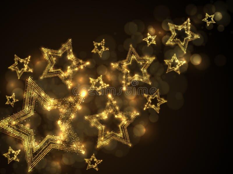 Abstrakt mousserande magisk bakgrund för guld- stjärnor stock illustrationer