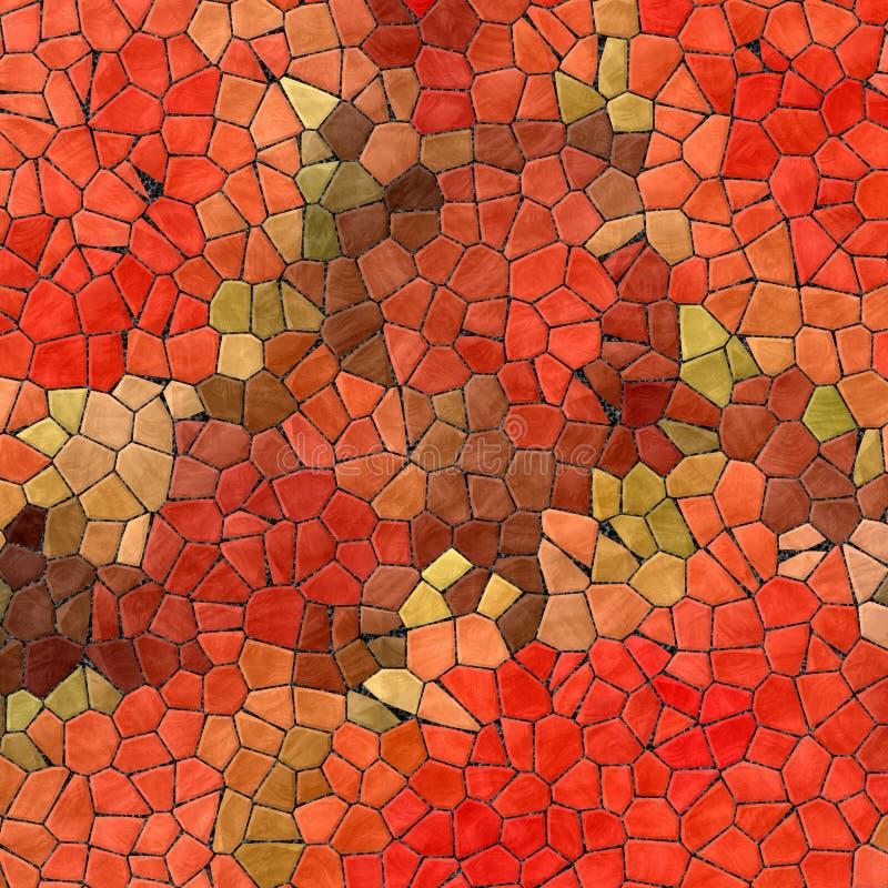 Abstrakt mozaiki płytek tekstury marmurowy plastikowy kamienisty tło z czarnym grout - czerwonej pomarańcze zieleni khaki brąz ba royalty ilustracja