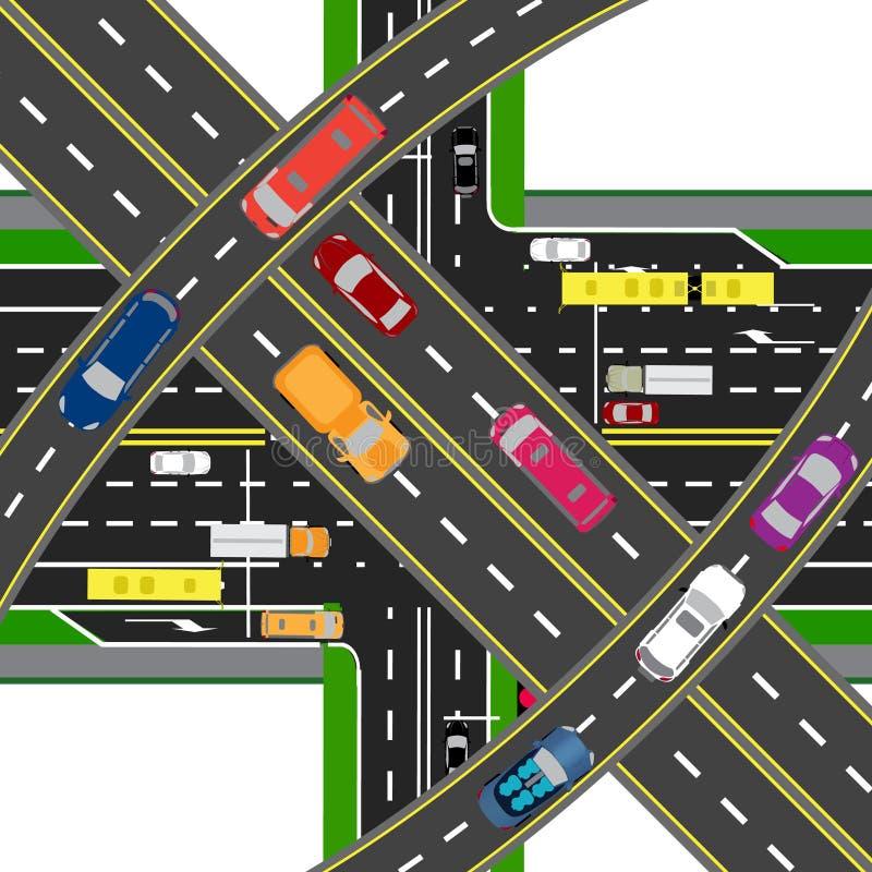 Abstrakt, multilevel przewieziony centrum Skrzyżowania różnorodne drogi Transport ilustracja ilustracja wektor