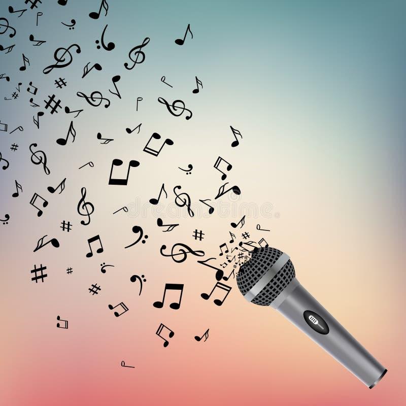 Abstrakt musikbakgrund med anmärkningar och mikrofonen Musikalisk bakgrund Isolerade musikanmärkningar Musikmikrofonobjekt royaltyfri illustrationer
