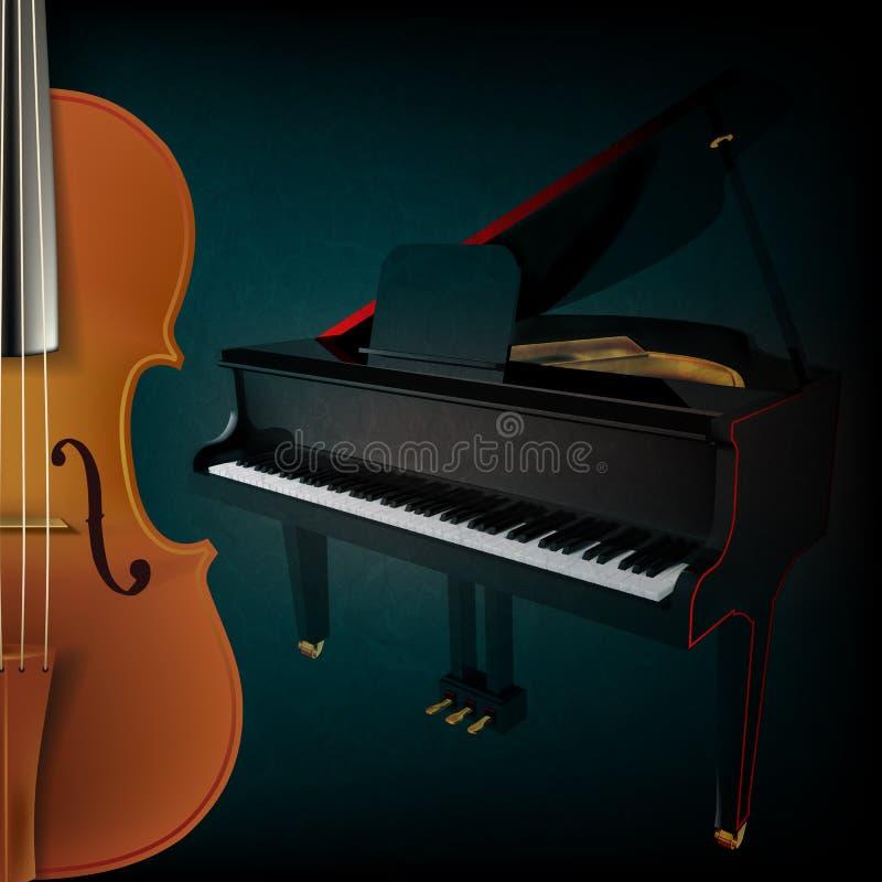 Abstrakt musikbakgrund med fiolen och pianot vektor illustrationer