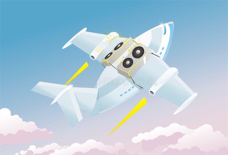 Abstrakt musikbakgrundsflygplan stock illustrationer