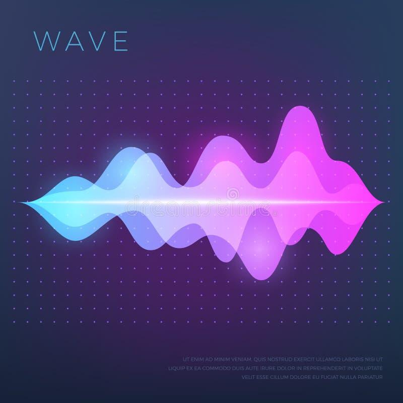 Abstrakt musikvektorbakgrund med den ljudsignal vågen för solid stämma, utjämnarewaveform royaltyfri illustrationer