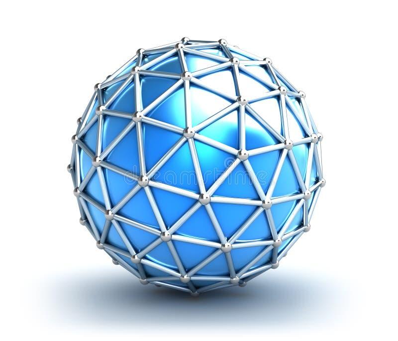 abstrakt nätverk för begrepp 3d vektor illustrationer