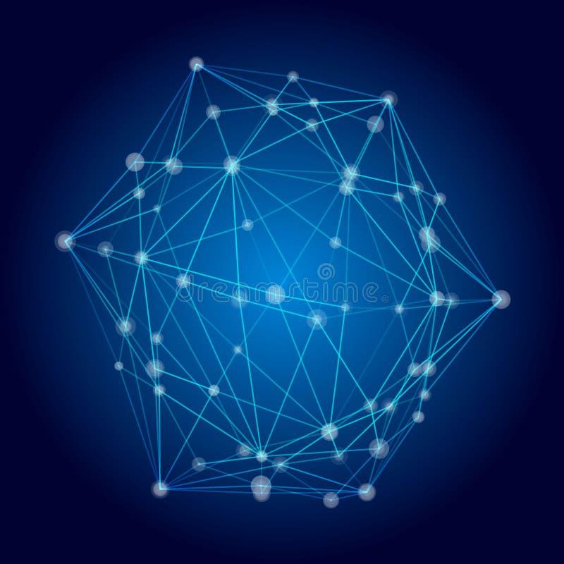 Abstrakt nätverksbegrepp, vektorillustration för anslutningsinternet för bakgrund blå teknologi anslutningar 3d Begrepp för virtu stock illustrationer