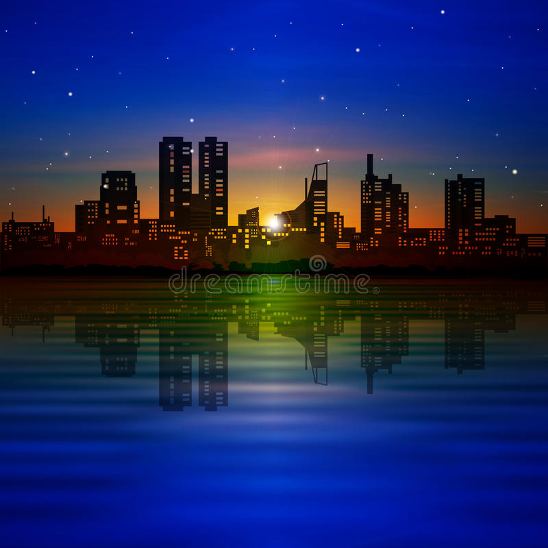Abstrakt nattbakgrund med konturn av staden