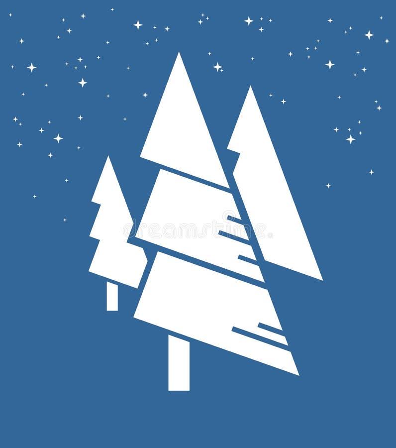 Abstrakt natur i minimalism, vita julgranar och vita snöflingor på blå bakgrund Tre vita granar och royaltyfri illustrationer