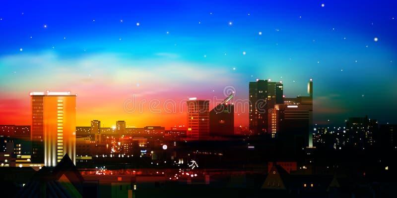 Abstrakt naturbakgrund med staden och soluppgång