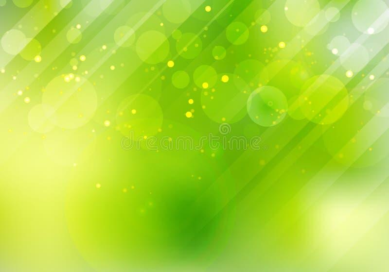 Abstrakt natury zielony bokeh zamazywał tło z obiektywu oświetleniem i racą ilustracji