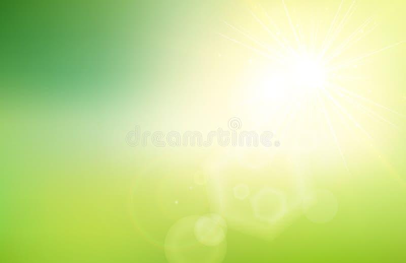 Abstrakt natury zielony gradient zamazywał tło z światłem słonecznym ilustracji