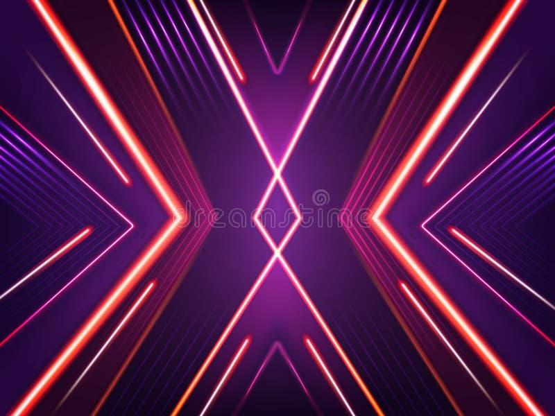 Abstrakt neonbakgrund för vektor Ljus glänsande modell vektor illustrationer