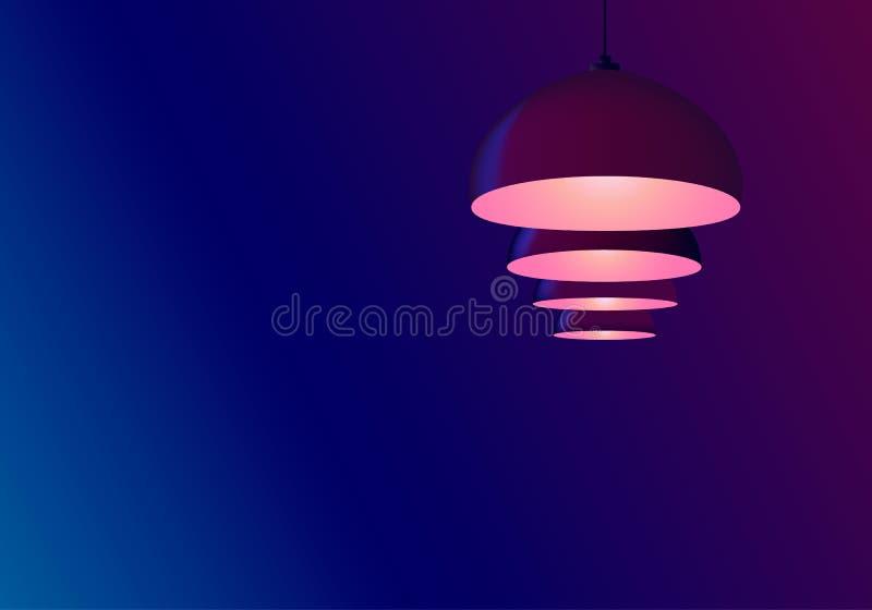 Abstrakt neonbl?ttbakgrund Billiardlampor hänger i rad Hängekulakulor skiner rosa r royaltyfri illustrationer