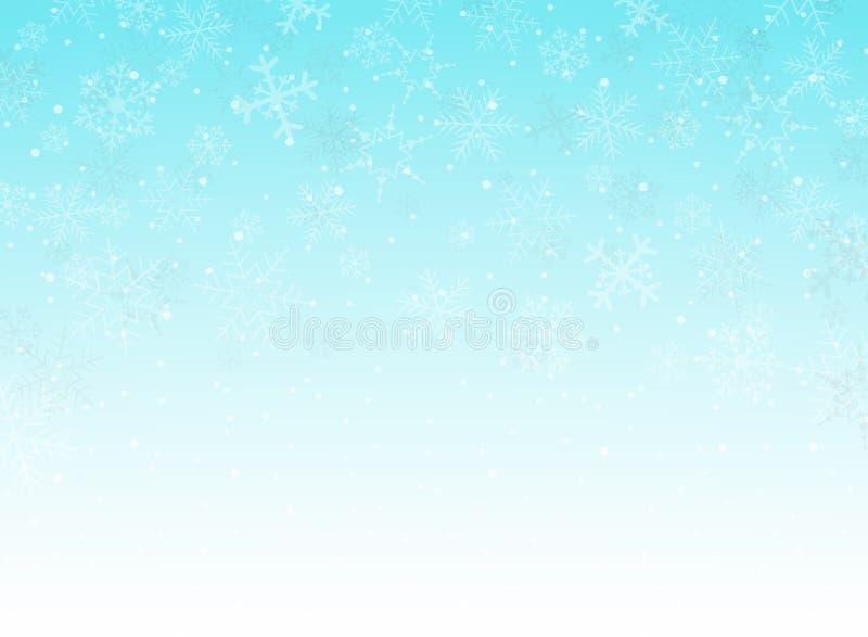 Abstrakt niebieskich nieb bożych narodzeń tło z płatkami śniegu tupocze royalty ilustracja
