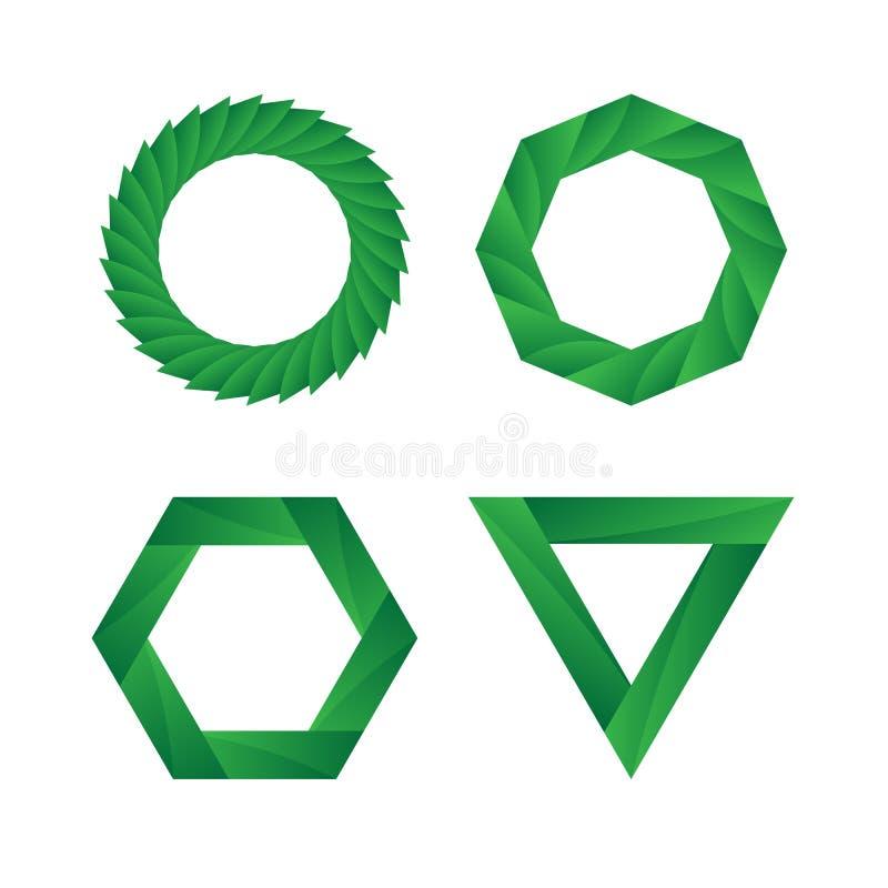 Abstrakt Nieskończonej pętli ikony zielony geometryczny set royalty ilustracja