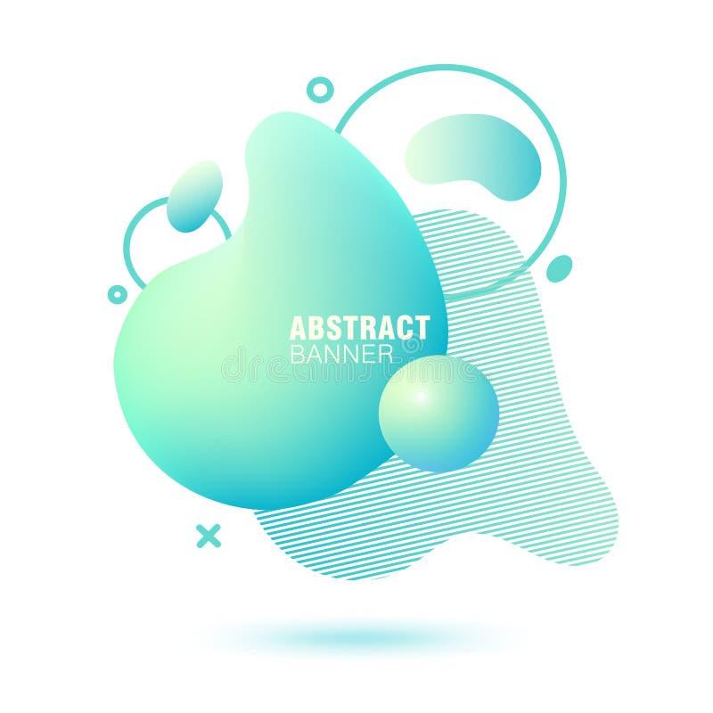Abstrakt, nowożytny, rzadkopłynny, modny gradientowy sztandar, Dynamical barwione formy z liniami, bieżącego ciecza kształtami i  ilustracji