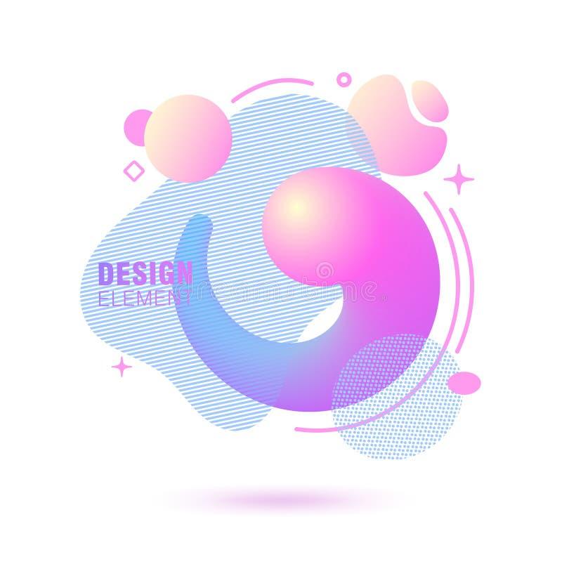 Abstrakt, nowożytny, rzadkopłynny, modny gradientowy sztandar, Dynamical barwione formy z liniami, bieżącego ciecza kształtami i  ilustracja wektor