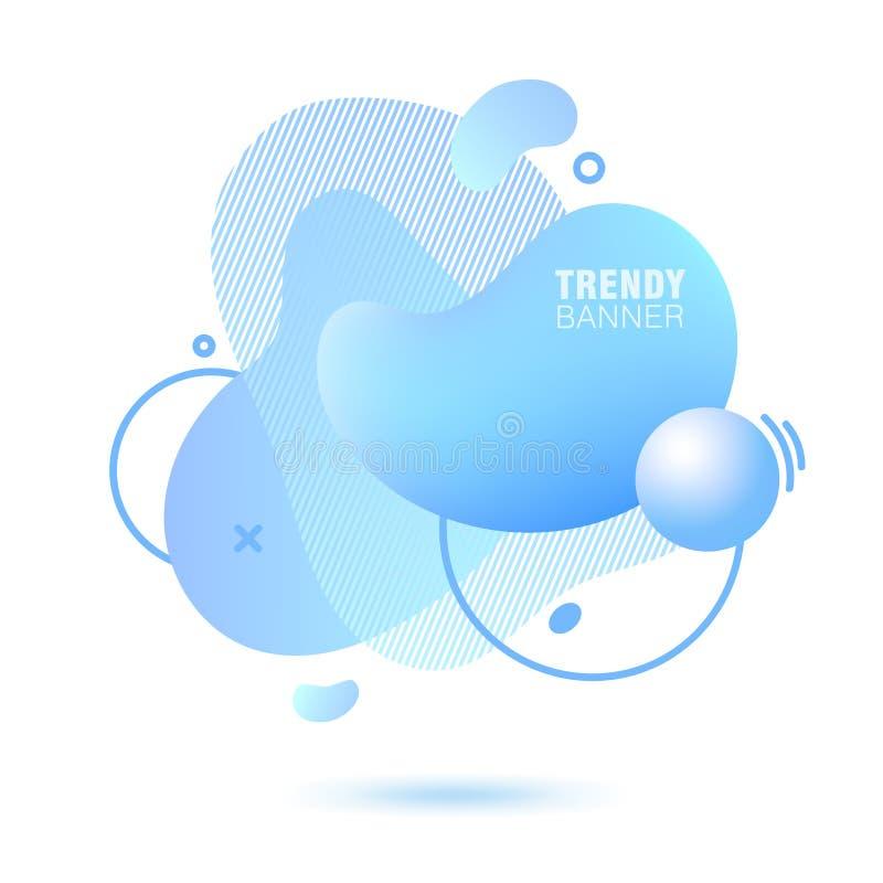 Abstrakt, nowożytny, rzadkopłynny, modny gradientowy sztandar w błękitnych kolorach, ilustracja wektor