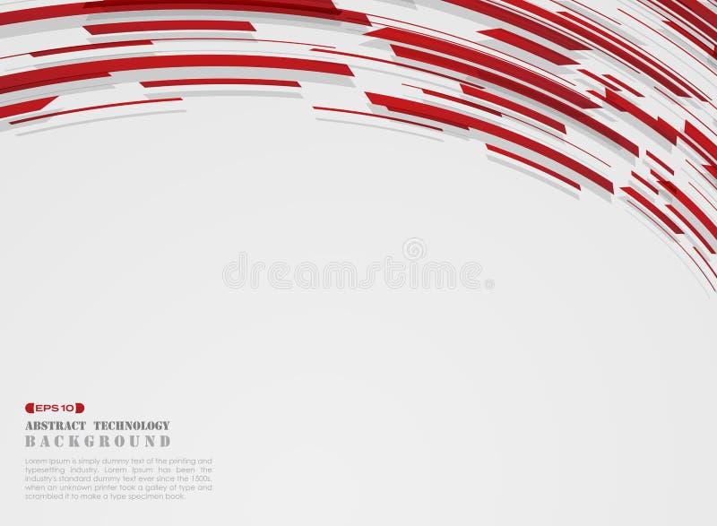 Abstrakt nowoczesna technologia ruchu lampasa gradientowe czerwone linie deseniuje tło ilustracji