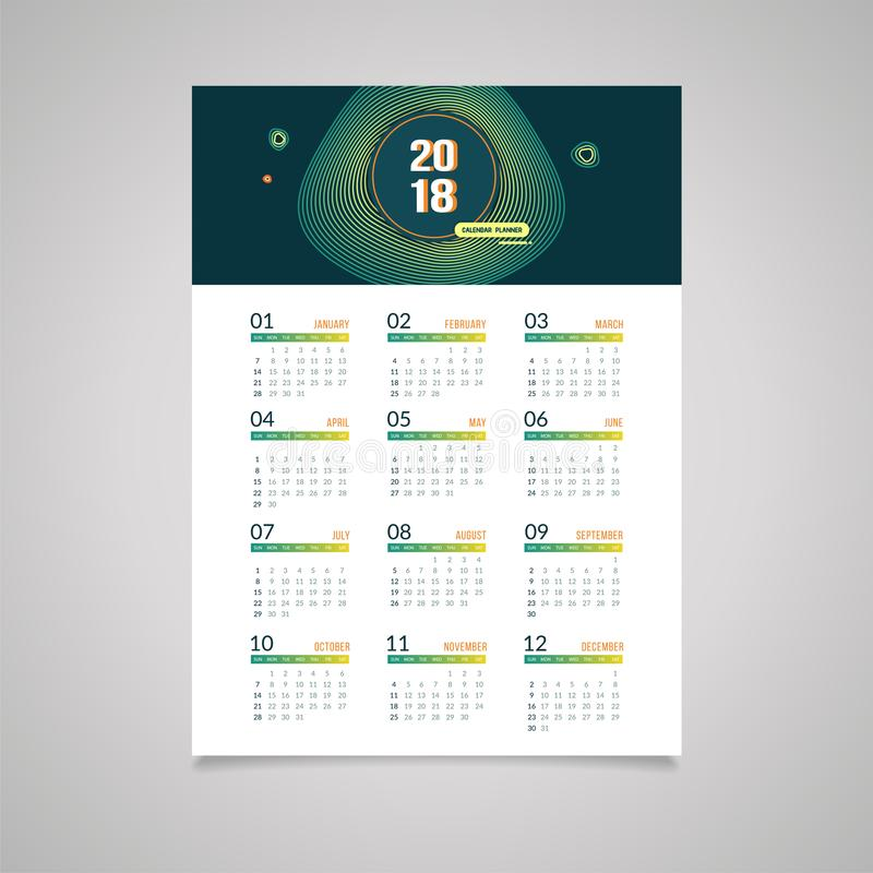 Abstrakt 2018 nowy rok ściennego kalendarza projekt royalty ilustracja