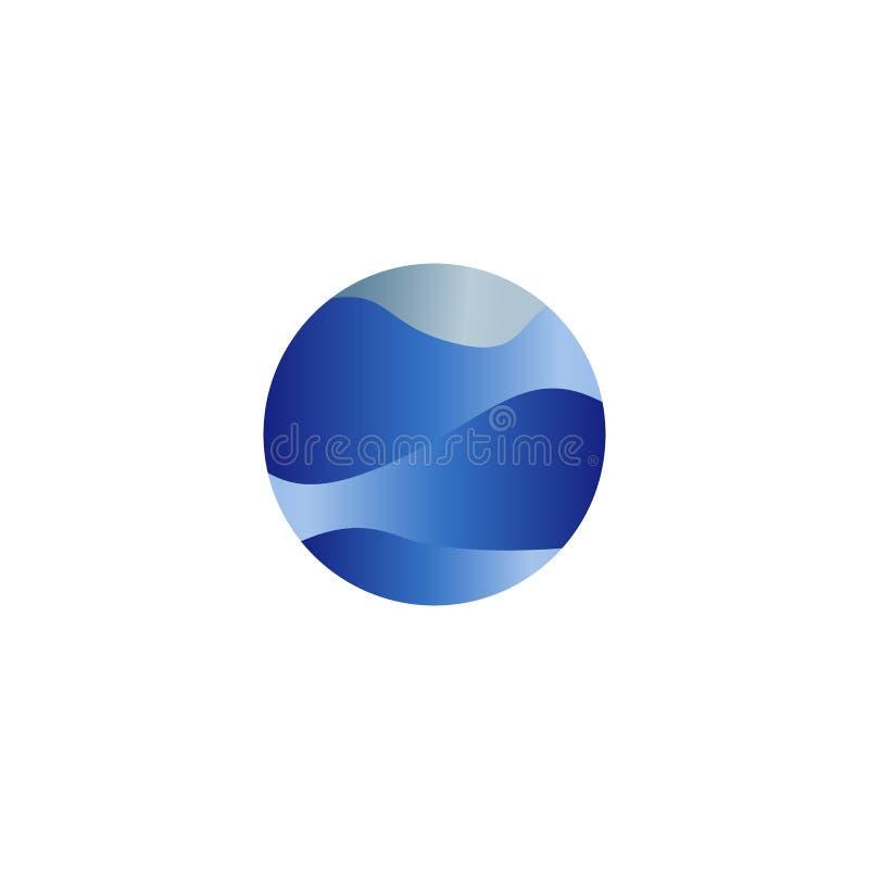 Abstrakt odizolowywający round kształta ciecz, błękitny koloru ocean, fala i niebo, obłoczny logo Woda stylizowany wektorowy logo royalty ilustracja