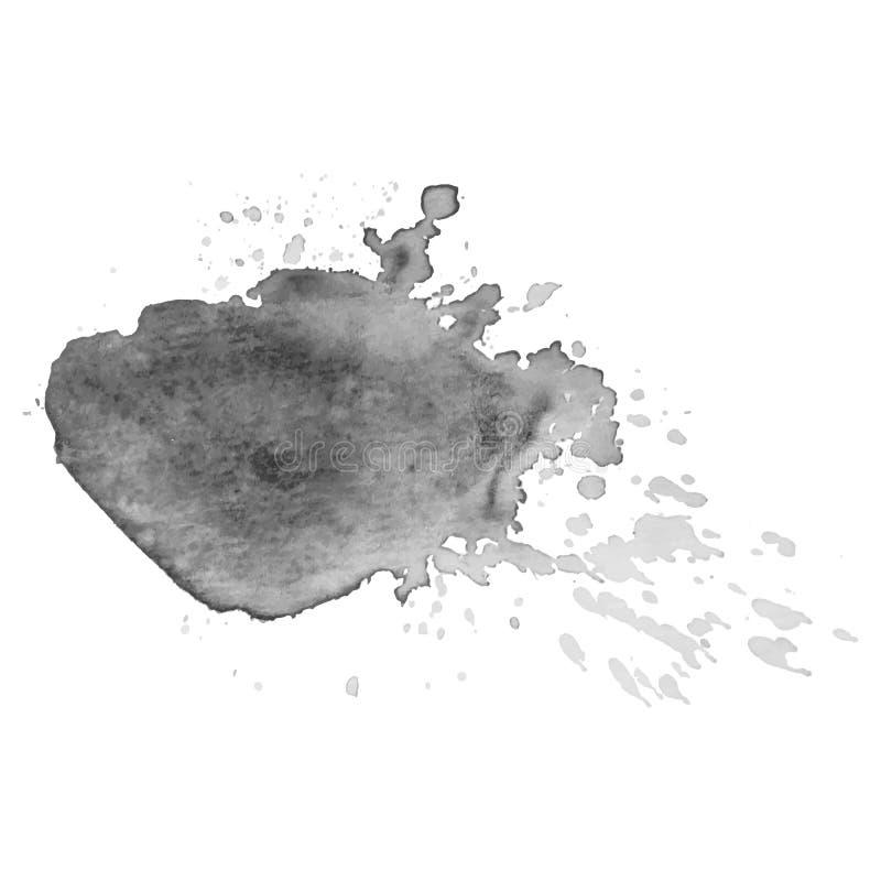Abstrakt odizolowywający szary wektorowy akwareli pluśnięcie Grunge element dla papierowego projekta ilustracji