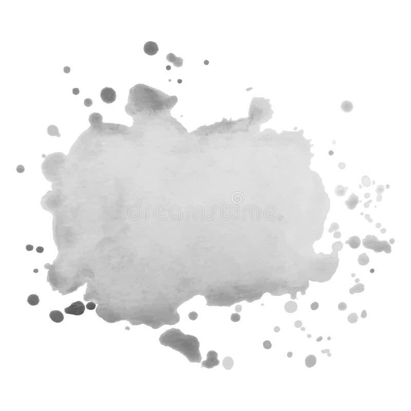 Abstrakt odizolowywający szary wektorowy akwareli pluśnięcie Grunge element dla papierowego projekta ilustracja wektor