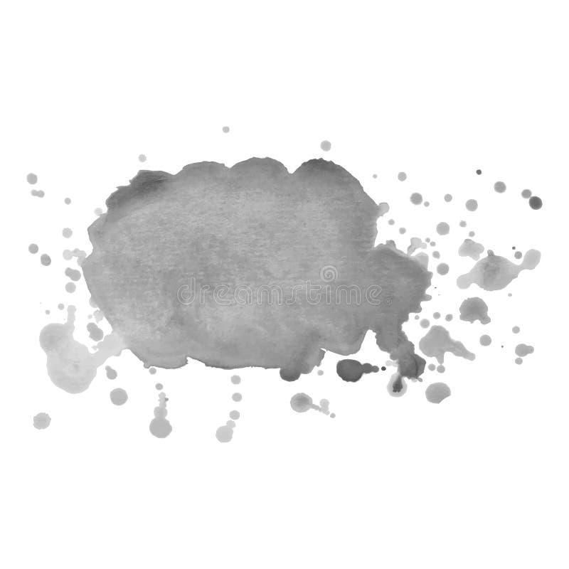 Abstrakt odizolowywający szary wektorowy akwareli pluśnięcie Grunge element dla papierowego projekta royalty ilustracja