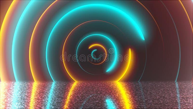 Abstrakt okrąża neonowego tunel z odbiciem, komputer wytwarzający tło, 3D rendering ilustracja wektor