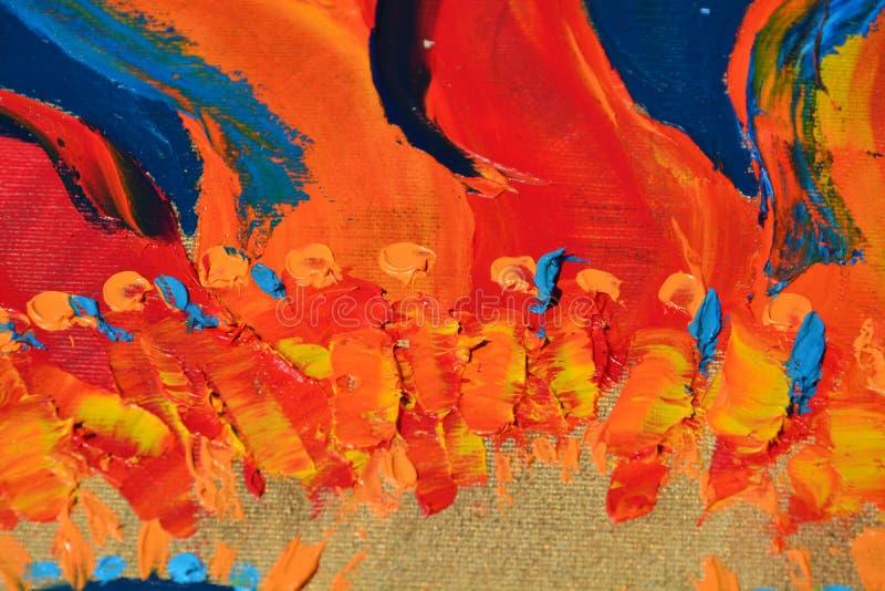 Abstrakt olja flamma-som målarfärg royaltyfri bild