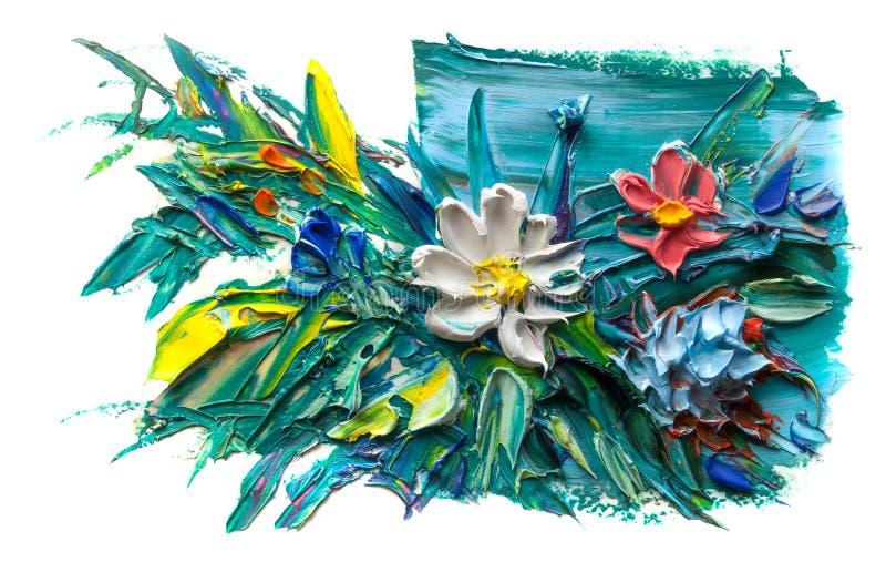 Abstrakt olje- målning av blomman vektor illustrationer