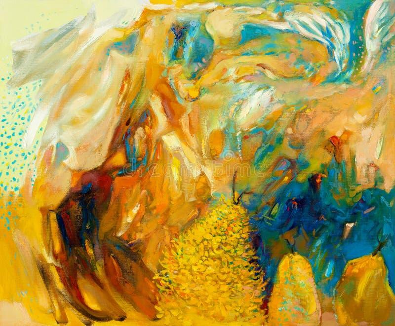 Abstrakt oljemålning royaltyfri illustrationer