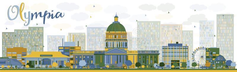 Abstrakt Olympia (Washington) horisont med färgbyggnader royaltyfri illustrationer