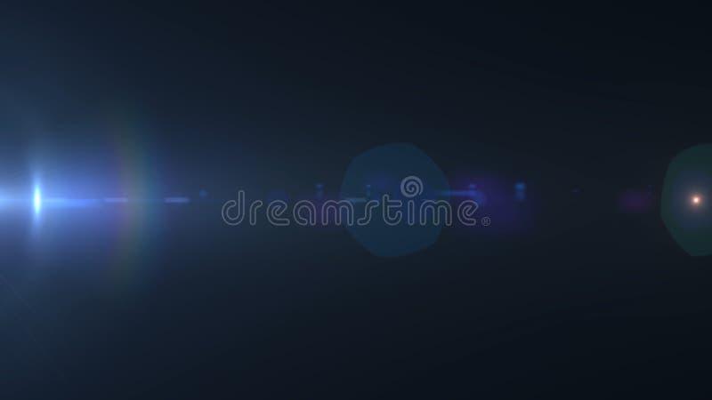Abstrakt optisk ilsken blick- och neonstråle i blått ljus på svart bakgrund Ljus sfär av vitt ljus med brutet neon vektor illustrationer