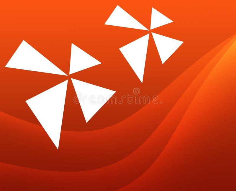Abstrakt orange bakgrund med lutningar och vita fanblad stock illustrationer