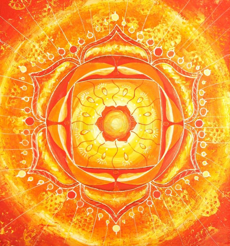 abstrakt orange målad bild royaltyfri illustrationer