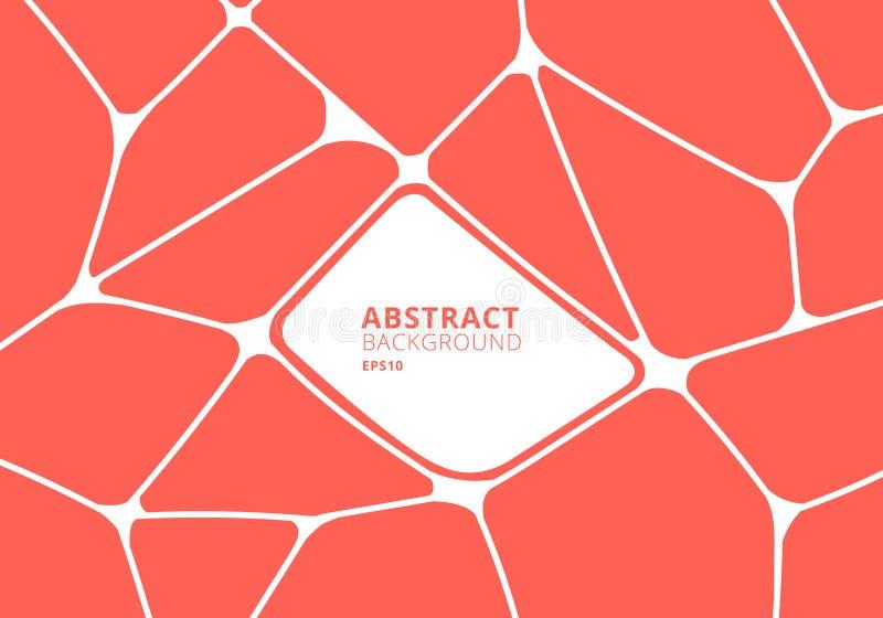 Abstrakt orange och vit geometrisk voronoibakgrund Polygonal mosaik vektor illustrationer