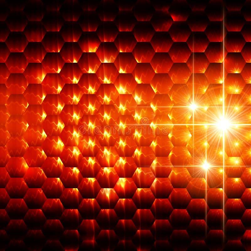 Abstrakt orange sexhörningsbakgrund vektor illustrationer